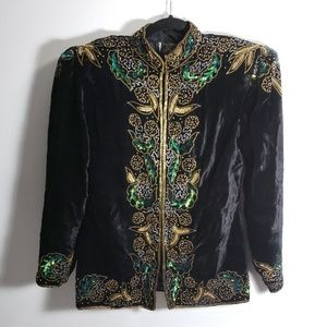 Vintage Pinky Creations Black Beaded Velvet Jacket